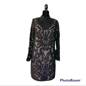 Adrianna Papell black lace dress tan lining size M